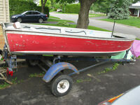 Aluminum fishing boat with trailer