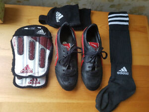 Child's Soccer Cleats, shin pads & socks