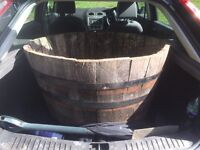 Old whiskey barrel for flowers