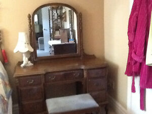 Antique Dresser and Matching Vanity with stool