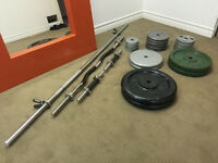 325lb's Iron Weights - Includes Iron Plates | EZcurl Bar | Dumbl