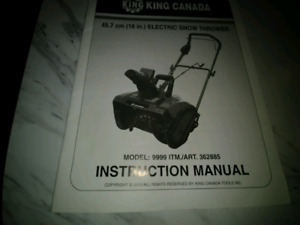King Canada Electic Snow Thrower 18 inch