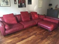 Red leather DFS corner sofa