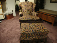 Elegant Antique Chair & Ottoman Newly Recovered In Animal Print