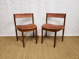 Pair of vintage teak Mcintosh space saving dining chairs
