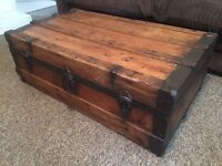 Antique pine coffee table chest trunk