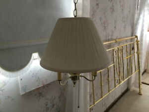 Hanging Brass Lamps with Almost New Shades