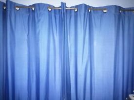 """Blue Eyelet Curtains 66"""" x 72"""" Drop"""