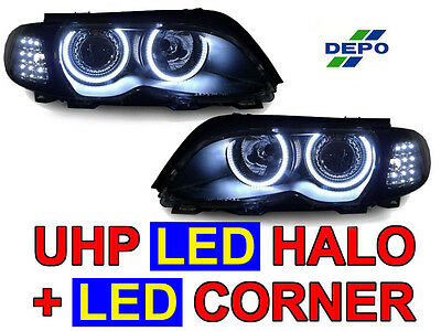(DEPO LED Angel Xenon HID Headlight+Smoke White Corner Light For 02-05 BMW E46 4D)