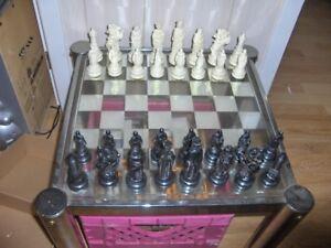 Jeux d`échec sur table en verre