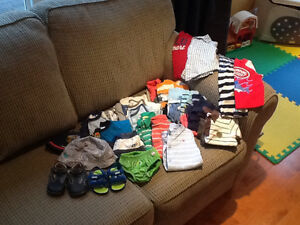 LARGE LOT of Brand Name Summer Baby Boy Clothes 12-18 Months