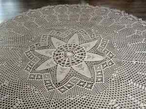 Hand Crocheted Ecru Color Tablecloth - 75 inches in diameter
