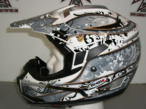 *Brand New* Shiro MotoCross Helmet, (Black/Grey/White), Medium.