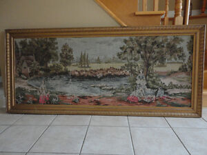 Vintage collectible framed decorative tapestry art wall hanging London Ontario image 2