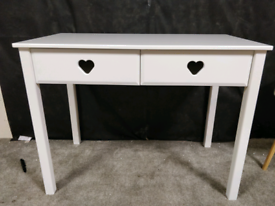 Brand new white Mia heart desk / dressing table with 2 drawers