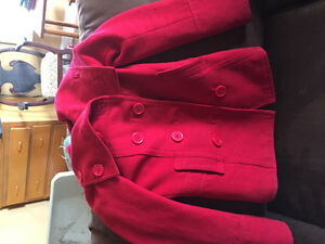 Size 2 or XSmall women's red pea coat wool