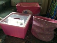 Pink storage box / bags toys bedroom etc