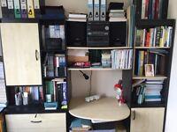 Black and cream laminate bedroom shelving/desk unit