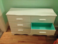 Beautiful white dresser with teal interior (solid wood!)