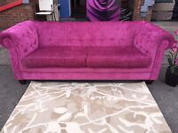 Chesterfield Sofa Pink Fabric Chesterfield Style 3 Seater Sofa