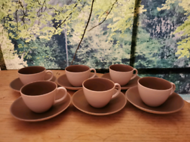 6 small china Poole Pottery cups and saucers