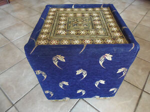 Blue Suede Cube! Marquetry Mosaic Top Square Ottoman: Beautiful!