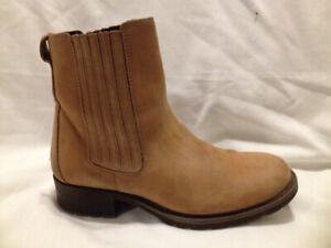 Ladies Next Tan Nubuck Leather High Ankle Chelsea Boots