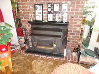 wood burning fireplace insert.