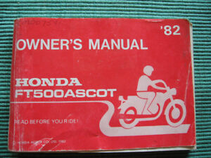 HONDA OWNERS MANUAL FOR  FT500 ASCOT