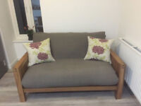 Top of the range fantastic 2 seat solid oak futon with mattress by Futon Company