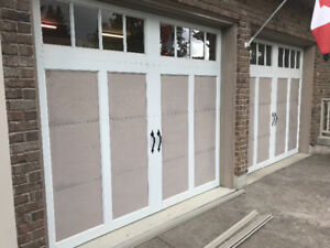 Garage doors, two 9'x8' clopay overlay doors.