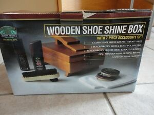 Brand new in box wooden shoe shine box kit footwear care kit London Ontario image 10