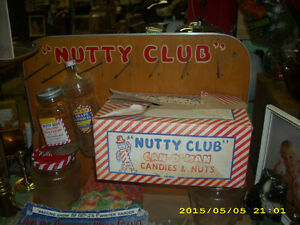 1940s 50s nutty club candy display sign country store