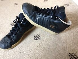 Adidas black leather trainer boots