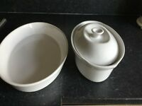 White bakeware dishes.