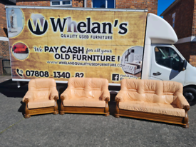 321 seater sofa in tan leather Hyde throughout £125