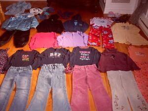 vêtements fille 6x - 7 ans manteau et pantalon doublé