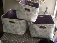 Set of 3 lovely designed material storage baskets, excellent condition,