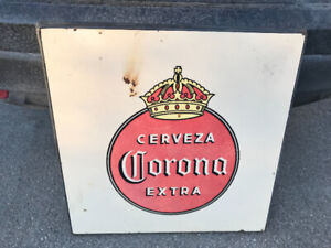 VINTAGE CORONA EXTRA BEER TRAY + PORCELAIN SIGN / TABLE TOP