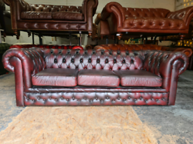 Chesterfield Oxblood 3 Seater Sofa