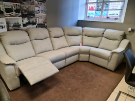 Corner sofa with power recliner