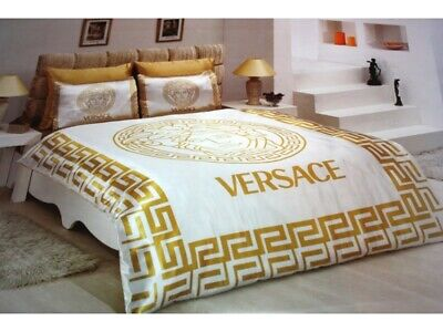 New Bedding Set Queen Size Satin with Versace Medusa Symbol 6PCS White and Gold