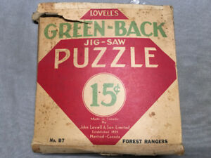 2 Lovell's Green-back jig-saw Puzzles ( Vintage) (c) 30's - 40's