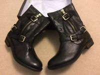Dune Robbin Black Leather Biker Boots
