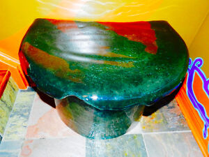 3 Unique Tables Custom Green Slag Glass