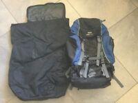 Travelling back pack and flight storage bag.