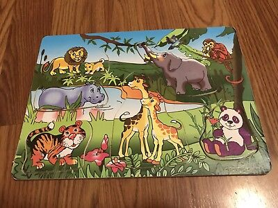 Animal 6 Piece Wood Child's Puzzle VGUC