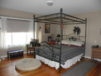 Bed queen canopy frame box spring & matress