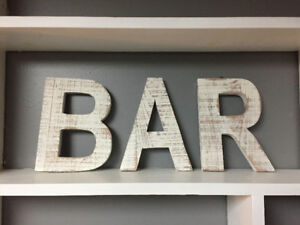 BAR sign (white wood letters) decor