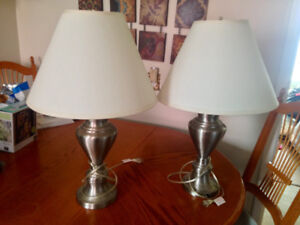 Pair Of Brushed Silver Lamps Working With LED Bulbs